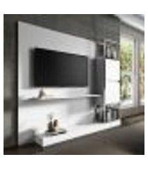 painel de tv com estante branco e tubos cromados carraro