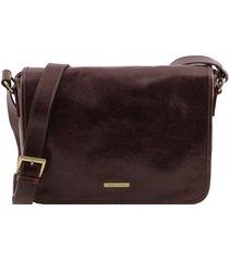 tuscany leather tl141301 tl messenger - borsa a tracolla 1 scomparto - misura media testa di moro