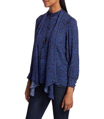alice + olivia women's tammy removable bow printed blouse - petite dream azure - size xs