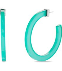 steve madden large green acrylic open back hoop earring 2.17""