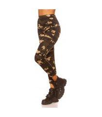 trendy camouflage leggings met contrast streep zwart