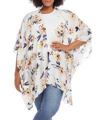 plus size women's karen kane open front jacket, size 0x - white