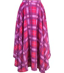 lhd plaid print skirt - purple