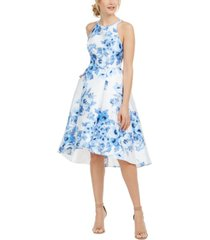 adrianna papell high-low floral-print dress