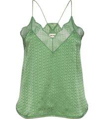 christy jac zv 3d camisole blus ärmlös grön zadig & voltaire