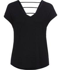 maglia in jersey con fettucce sulla schiena (nero) - bodyflirt
