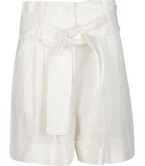 parosh white viscose-linen shorts