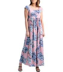women's rose pleated empire waist maxi dress