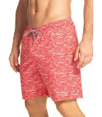 pantaloneta verano silueta larga hawai para hombre-rojo