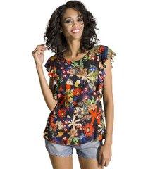 blusa floral cantão