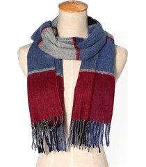 lyza sciarpa scialle lunga calda in cashemere a quadri con fiocchi d'inverno