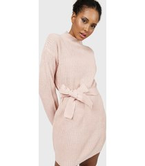 vestido missguided  roll neck basic dress with belt rosa - calce holgado