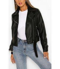 belted biker jacket, black