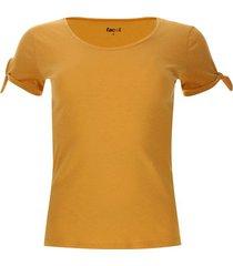 camiseta mujer nudos en mangas color amarillo, talla 14