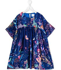 noon by noor mini tulip floral dress - blue
