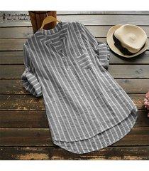 zanzea mujeres asimétrico largo tapas de la camisa irregular ocasional del dobladillo de la blusa de la raya del tamaño extra grande -negro