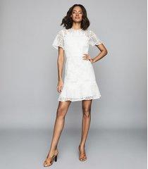 reiss damara - lace mini dress in white, womens, size 14