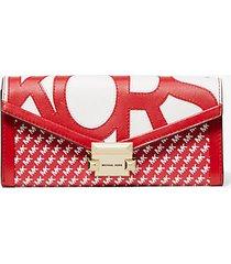mk portafoglio whitney grande con logo grafico e catena - rosso/bianco (rosso) - michael kors