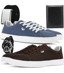 kit 2 pares de sapatãªnis skateboard sapatofran casual azul e cafã© com relã³gio, cinto e carteira - azul marinho - masculino - lona - dafiti