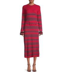 fendi women's wool, cashmere & mink fur-cuff striped dress - red - size 46 (12)