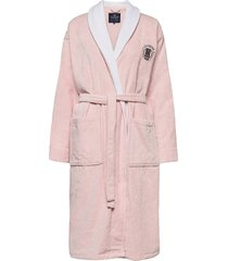 lexington cotton velour contrast robe ochtendjas badjas roze lexington home