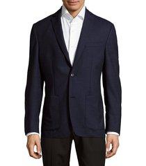 saks fifth avenue men's textured jacket - textured navy - size 40 s