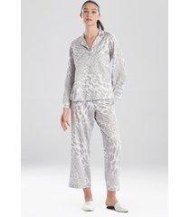 natori leopard printed cotton sateen sleepwear pajamas & loungewear, women's, 100% cotton, size m natori