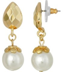 2028 gold-tone imitation pearl drop earring