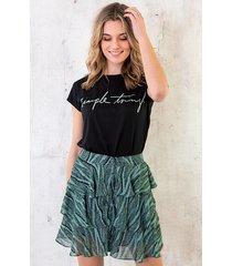 zebra laagjes rok turquoise