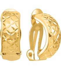 textured crisscross clip-on half hoop earrings in 14k gold