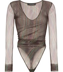 y/project ruched mesh bodysuit - brown