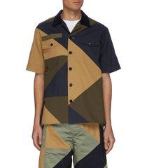 geometric patchwork patch pocket shirt
