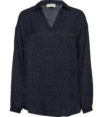 anastacia print shirt blus långärmad blå modström