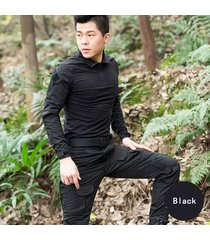 tactical military combat uniform shirt and pants for airsoft hunting g3 black
