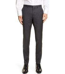 men's boss wave flat front solid wool trousers