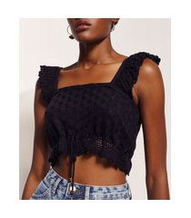 top cropped de tricô feminino hype beachwear com babado na alça decote reto preto