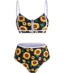 sunflower zip up piping bikini swimwear