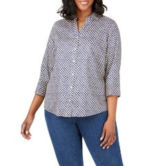 plus size women's foxcroft mary shadow dot print shirt