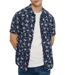eleven paris men's paisley printed shirt
