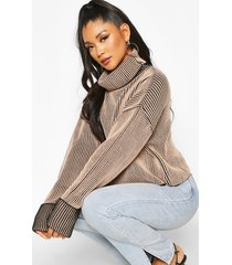 2 tone rib crop roll neck sweater, stone