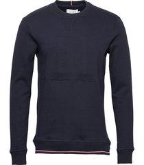 embossed sweatshirt sweat-shirt trui blauw les deux