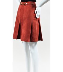 red suede gold tone horsebit buckle a line skirt