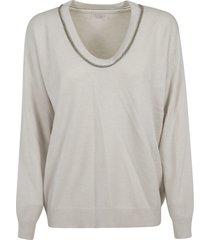 brunello cucinelli wide-neck embellished sweater