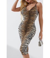 yoins caqui sin espalda leopardo asimétrico cuello sin mangas vestido