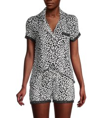 catherine malandrino women's 2-piece leopard-print shirt & short set - leopard - size xl