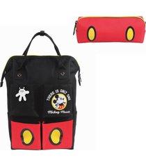 mochila de costa mickey mouse vintage preta com estojo
