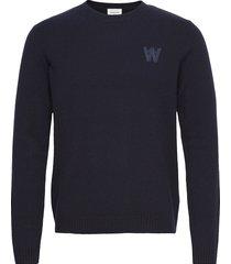 kevin lambswool jumper gebreide trui met ronde kraag blauw wood wood