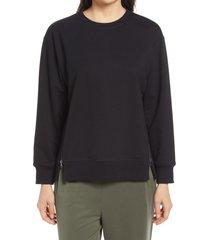 women's nordstrom women's side zip sweatshirt, size medium - black