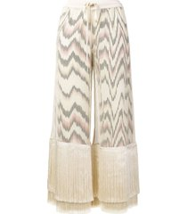missoni fringe cropped trousers - neutrals