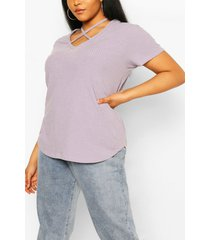 plus cross front strap ribbed t-shirt, grey